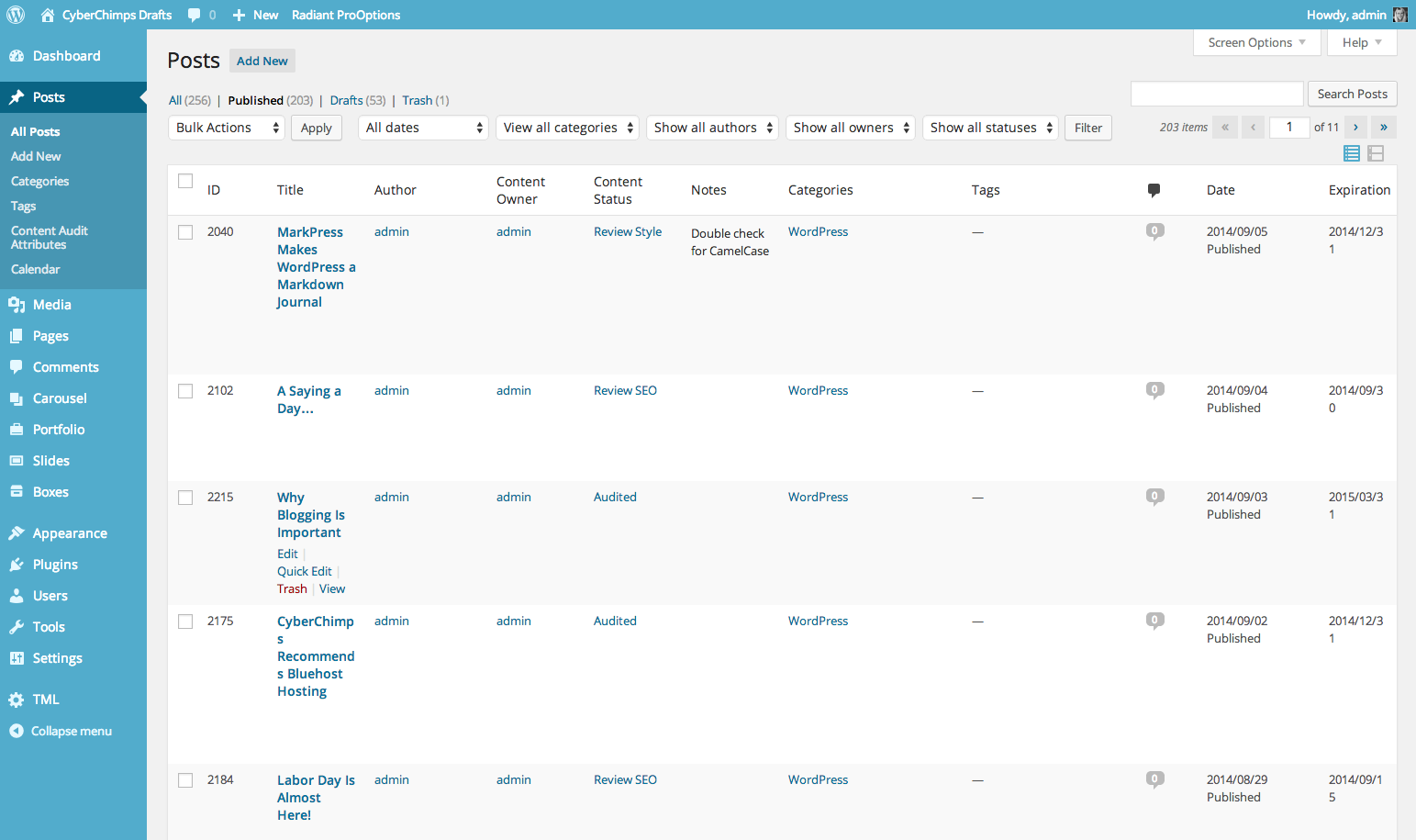 Content Audit columns on Posts screen
